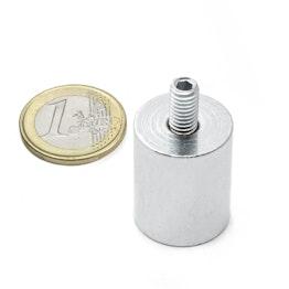 BMN-TS-20 cilindrische potmagneet Ø 20 mm met draadstift, schroefdraad M6
