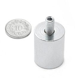 BMN-TS-20 cilindrische potmagneet Ø 20 mm met draadstift, houdt ca. 13 kg, schroefdraad M6