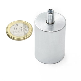 BMN-TS-25 deep pot magnet Ø 25 mm with threaded stud, thread M6