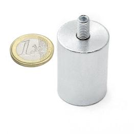 BMN-TS-25 base magnetica con Ø 25 mm e gambo filettato, tiene ca. 19 kg, filettatura M6