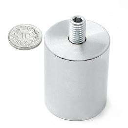 BMN-TS-32 cilindrische potmagneet Ø 32 mm met draadstift, houdt ca. 34 kg, schroefdraad M8