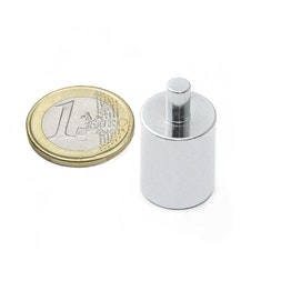BMN-PP-16 deep pot magnet Ø 16 mm with stud, stud Ø 5 mm