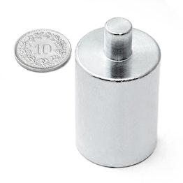 BMN-PP-25 cilindrische potmagneet Ø 25 mm met tap, houdt ca. 19 kg, tap Ø 8 mm