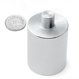 BMN-PP-32 base magnetica con Ø 32 mm e gambo, tiene ca. 34 kg, gambo Ø 10 mm