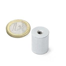 BMN-IT-16 cilindrische potmagneet Ø 16 mm met inwendig schroefdraad, houdt ca. 9 kg, schroefdraad M4
