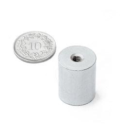 BMN-IT-16 base magnética cilíndrica Ø 16 mm con rosca interior, sujeta aprox. 9 kg, rosca M4