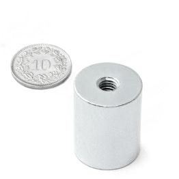 BMN-IT-20 base magnética cilíndrica Ø 20 mm con rosca interior, sujeta aprox. 13 kg, rosca M6