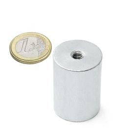 BMN-IT-25 aimant grappin cylindrique Ø 25 mm avec filetage intérieur, tient env. 19 kg, pas de vis M6