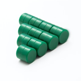 M-DISC-01/green Disc magnets with plastic cover Ø 9,4 mm, water-proof, 10 per set, green