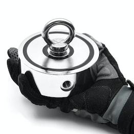 Magnete per il recupero di oggetti metallici 400 magnetico su due lati, 2 filettature M12 e golfare maschio adatto incluso, forza di attrazione ca. 400 kg