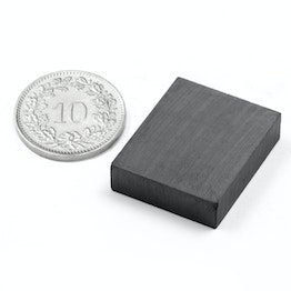FE-Q-25-20-06 Blokmagneet 25 x 20 x 6 mm, ferriet, Y35, zonder coating