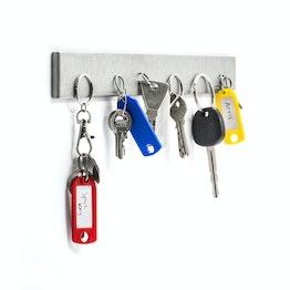 Pannello portachiavi magnetico 32 cm barra magnetica, in acciaio inox, per 6 chiavi