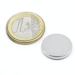 S-18-02-N Disc magnet Ø 18 mm, height 2 mm, neodymium, N45, nickel-plated