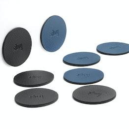 Nano-gel-pad metallici di silwy Ø 5,0 cm supporto aderente per magneti, riutilizzabile, con rivestimento in similpelle, set da 4, in diversi colori