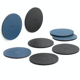 silwy metaal-nano-gel pads Ø 6,5 cm zelfhechtende hechtondergrond voor magneten, herbruikbaar, met kunstleer bekleed, set van 4, in verschillende kleuren