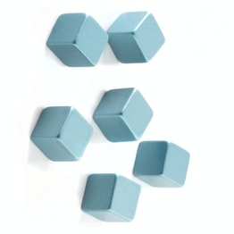 Decorative magnets 'Cube Medium' edge length 7 mm, set of 6, silver-blue