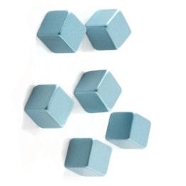 Aimants décoratifs 'Cube Medium' tient env. 300 g, longueur d'arête 7 mm, lot de 6, bleu argenté