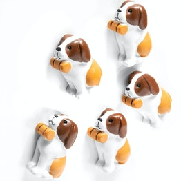 """Koelkastmagneten """"Barry"""" in de vorm van Sint-Bernhards, wit-bruin, set van 5"""