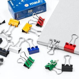 """Binder clips """"mauly"""" 13 mm metal, set of 12, not magnets!"""