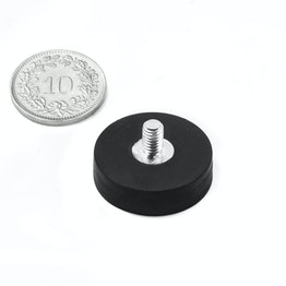 GTNG-22 rubber-coated pot magnet with threaded stud Ø 22 mm, thread M4