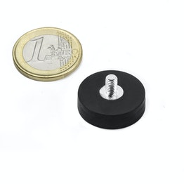 GTNG-22 magnete gommato con base in acciaio con gambo filettato, Ø 22 mm, filettatura M4