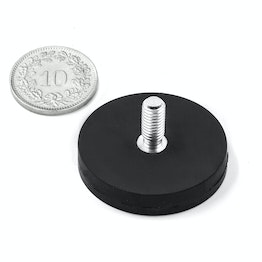 GTNG-31 rubber-coated pot magnet with threaded stud Ø 31 mm, thread M5