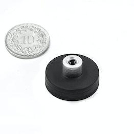 TCNG-22 imán en recipiente de goma con casquillo roscado Ø 22 mm, sujeta aprox. 5.9 kg, rosca M4