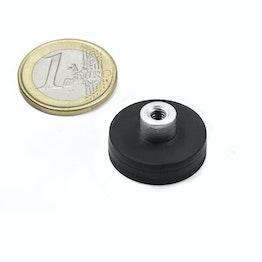 TCNG-22 magnete gommato con base in acciaio con boccola filettata Ø 22 mm, tiene ca. 5,9 kg, filettatura M4