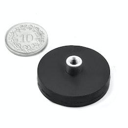 TCNG-31 potmagneet met rubber mantel met draadbus Ø 31 mm, houdt ca. 9 kg, schroefdraad M4