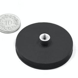 TCNG-43 potmagneet met rubber mantel met draadbus Ø 43 mm, houdt ca. 10 kg, schroefdraad M4
