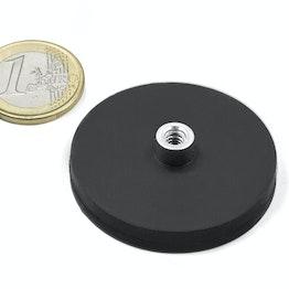 TCNG-43 magnete gommato con base in acciaio con boccola filettata Ø 43 mm, filettatura M4