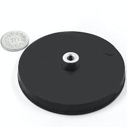 TCNG-66 aimant en pot caoutchouté avec manchon taraudé Ø 66 mm, pas de vis M5