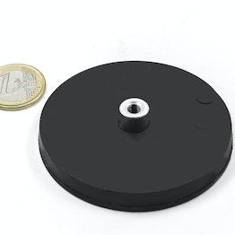 TCNG-66 rubber-coated pot magnet with screw socket Ø 66 mm, holds approx. 25 kg, thread M5