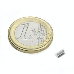 S-02-05-N Staafmagneet Ø 2 mm, hoogte 5 mm, houdt ca. 170 gr, neodymium, N45, vernikkeld