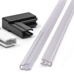 Profilé en matière plastique pour système magnétique avec support, transparent