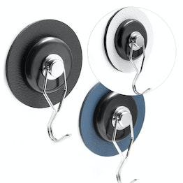 silwy nano-gel-pad métallique Ø 6,5 cm avec crochet magnétique rotatif 'The One' support d'adhérence autoadhésif pour aimants, réutilisable, avec revêtement en similicuir, Kit, en différentes couleurs