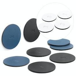 silwy Metall-Nano-Gel-Pads Ø 6,5 cm selbsthaftender Haftgrund für Magnete, wiederverwendbar, mit Kunstlederüberzug, 4er-Set, in verschiedenen Farben