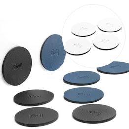 silwy metaal-nano-gel pads Ø 5,0 cm zelfhechtende hechtondergrond voor magneten, herbruikbaar, met kunstleer bekleed, set van 4, in verschillende kleuren