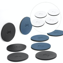 silwy Metal-Nano-Gel-Pads Ø 5,0 cm self-adhering surface for magnets, reusable, with synthetic leather coating, set of 4, in different colours