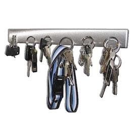 Sleutelbord magnetisch 32 cm magneetstrip, van roestvrij staal, voor 6 sleutels