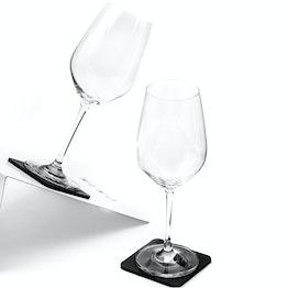 Juego de 2 copas magnéticas de cristal de silwy para vino 2 copas magnéticas de cristal, 2 Nano-Gel-Pads de metal