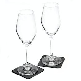 Juego de 2 copas magnéticas de cristal de silwy para champán 2 copas magnéticas de cristal, 2 Nano-Gel-Pads de metal