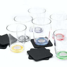silwy Magnet-Trinkbecher 6er-Set 6 Magnet-Becher aus Kunststoff, 6 Metall-Nano-Gel-Pads, Multicolor