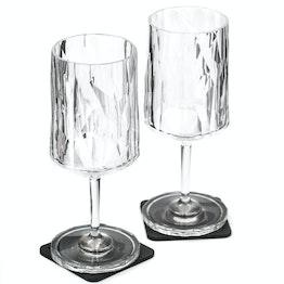 Juego de 2 copas magnéticas de plástico de silwy para vino, modelo clear 2 vasos magnéticos de plástico, 2 Nano-Gel-Pads de metal