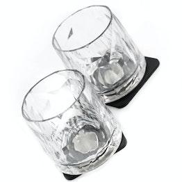Set di 2 bicchieri tumbler magnetici in plastica di silwy trasparenti 2 bicchieri magnetici in plastica, 2 nano-gel-pad metallici