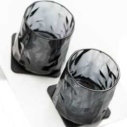 silwy magnetic plastic glasses set of 2 tumbler grey 2 magnetic glasses made of plastic, 2 metal-nano-gel-pads