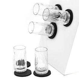 Juego de 6 vasos magnéticos de plástico de silwy para chupito, modelo clear 6 vasos magnéticos de plástico, 6 Nano-Gel-Pads de metal