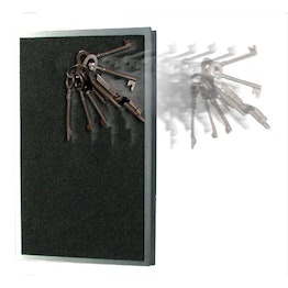 Key rack magnetic extra strong stainless steel with felt coating, for 8 keys