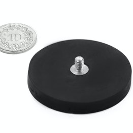 GTNG-43 magnete gommato con base in acciaio con perno filettato Ø 43 mm, filettatura M4