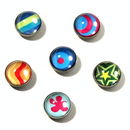 Crazy deco magnets made of acrylic and metal, set of 6